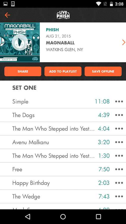 LivePhish- screenshot