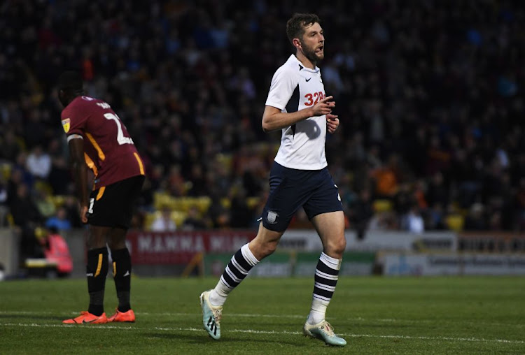 Tom Barkhuizen of Preston North End celebrates scoring a goal during the Carabao Cup first round match against Bradford City at Utilita Energy Stadium on August 13 2019 in Bradford, England.