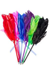 Fjäderpenna, röd/rosa/blå