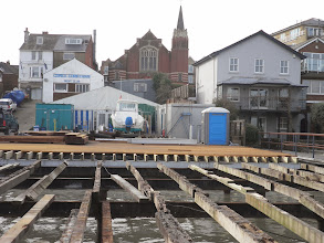 Photo: The view from the marina, with the old joists and steelwork in the foreground and the new behind. Taken on 2nd February 2014.