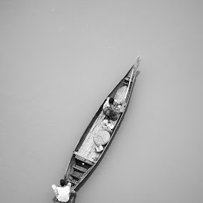 Floating On by Rahat Amin - Transportation Boats ( water, fishermen, black and white, boat, river )