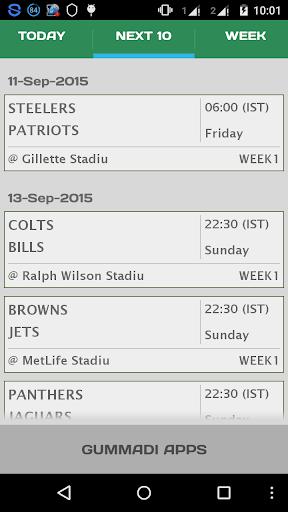 Football NFL Schedule 2015