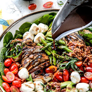 Grilled Caprese Chicken Salad with Asparagus, Avocado and Bacon.