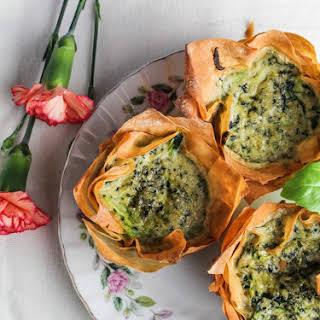 Zucchini-Pesto Mini Quiches in Phyllo Cups.