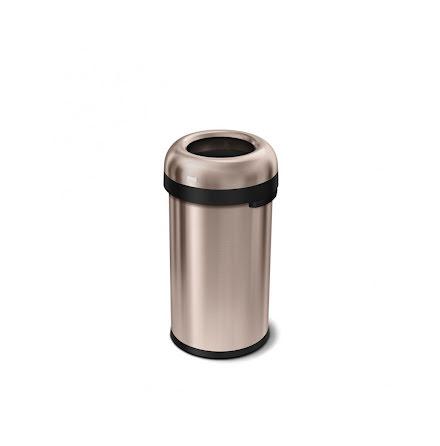 Öppen kulformad soptunna 60 liter, rosenguld stål