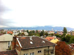 Photo: Sofia skyline from Hotel Budapest balcony.