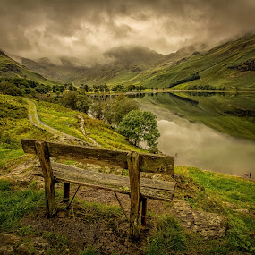 Best seat in the lakes by Lester Woodward - Landscapes Waterscapes ( chair, reflection, bench, green, lake district, buttermere )