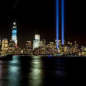 Tribute of Lights - 2012 by Dave Dabour - News & Events US Events ( 9/11, wtc, 2012, tribute of lights, , city, night, city at night, street at night, park at night, nightlife, night life, nighttime in the city )