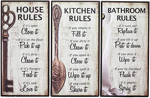 Our Family Rules Wall Art