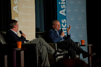 """Photo: Eric Schmidt reacts to a question while discussing """"The New Digital Age"""" Thursday, Nov. 15, 2012 at the RAND Politics Aside event in Culver City."""