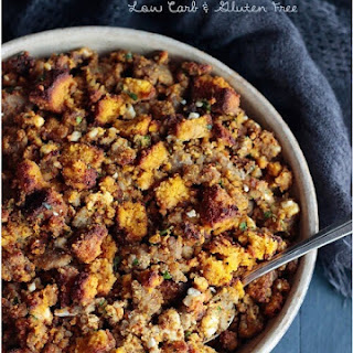 Low Carb Pumpkin Bread, Sausage & Feta Stuffing.