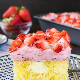 Lemon Strawberry Poke Cake.