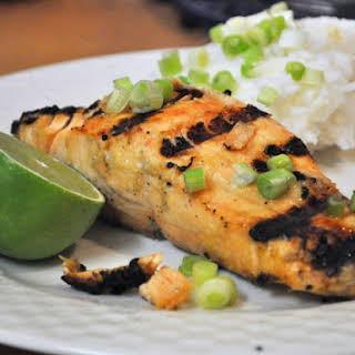 Grilled Salmon With Miso Glaze.