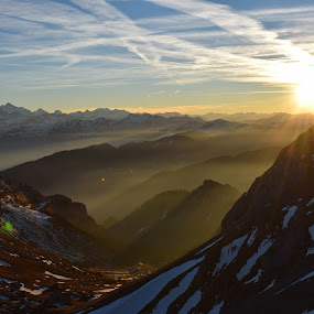 Swiss Mountains by Jay Hathaway - Landscapes Mountains & Hills ( mountain, sunburst, sunset )