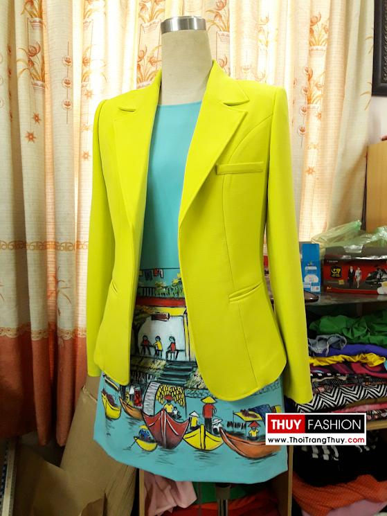 Áo vest nữ công sở thu đông màu vàng V366 thời trang thủy