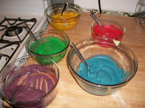 Separate batter into 5 or 6 different bowls. Add food coloring with different colors....