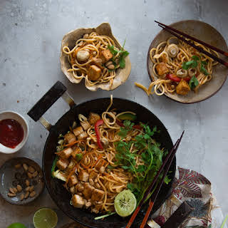 Quick Noodles With Tofu And Vegetables.