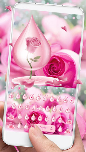 Pink Rose Water Keyboard Theme 10001004 screenshots 1