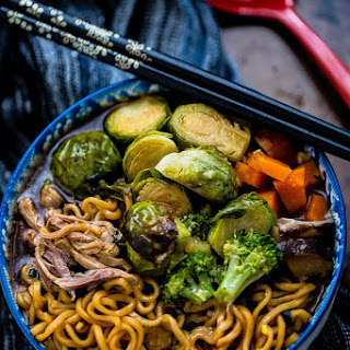 Turkey Ramen Noodle Soup with Brussels Sprouts.