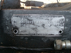 Photo: Fisher Body ID tag on rear frame rail. 12C = December, 1965 3rd week  ST 66-10737 LOS 773 BODY = 1966 Chev. Corvair Corsa coupe Los Angeles #773 TR 758-Z  W-W PAINT = Black vinyl bucket seats, no headrests, Chateau Slate paint 4O = RPO L87 Turbocharged 180 HP engine This car is also equipped with M20 4 speed trans. G81 Positraction, F41 HD suspension and N44 quick steering, N36 Telescoping column & P-19 spare wheel lock.