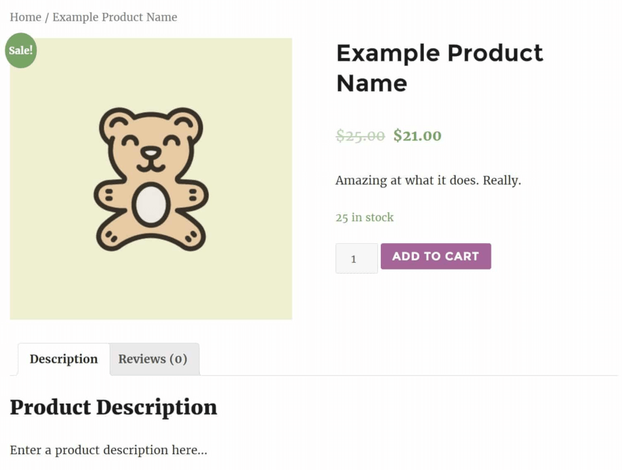 A sample product in WooCommerce