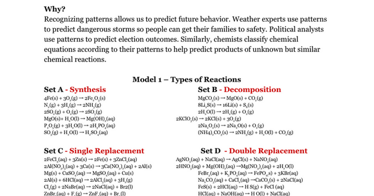 Types Of Chemical Reactions Key Google Docs