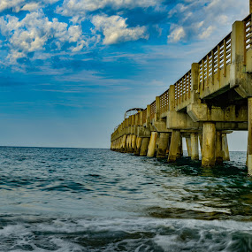 Fishing Pier by Fred Bartholomew - Landscapes Waterscapes ( water, daytime, waterscape, outdoors, clouds and sea, cloudscape, pier, ocean, fishing )