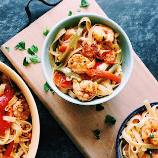 Old Bay Cajun Style Pasta with Grilled Shrimp and Roasted peppers.