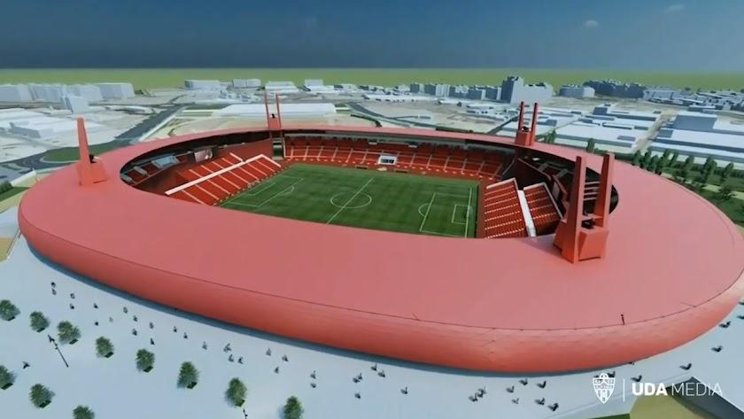 Recreación del resultado final del Estadio Mediterráneo tras las obras de remodelación
