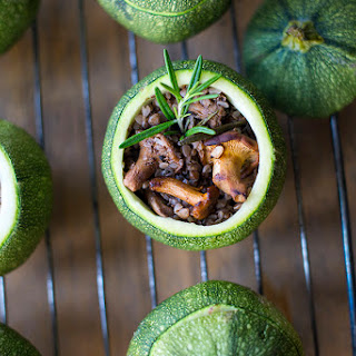 Chanterelle Stuffed Round Zucchini Recipe