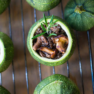 Chanterelle Stuffed Round Zucchini.