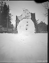 Photo: First snowman for years!, 4x5 pinhole camera, Ilford VC paper, yellow filter