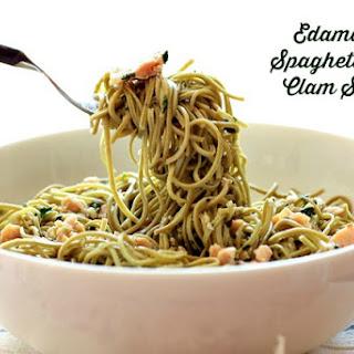 Edamame Spaghetti with Clam Sauce.