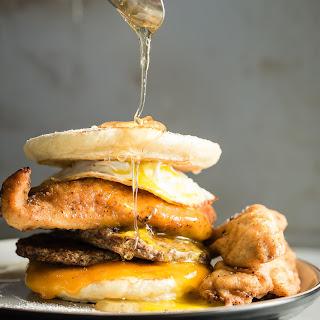 Fried Chicken and Sausage Breakfast Sandwich.