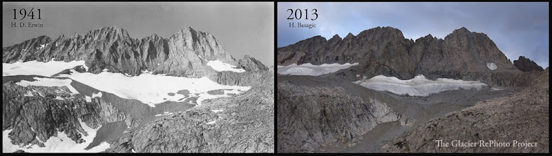 Photo: Middle Palisade Glacier Source: 1941 - Sequoia and Kings Canyon National Park Archive 2013 - The Glacier RePhoto Project