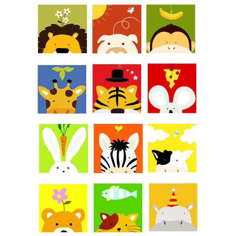 卡通動物數字油畫套裝