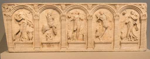 Column-Sarcophagus_.jpg - Column sarcophagus shows Dionysus dancing amid the maenads, a satyr and Pan, dating to the late 100s A.D.