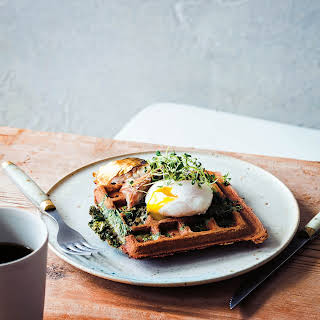 Kale & Buckwheat Waffles with Eggs.
