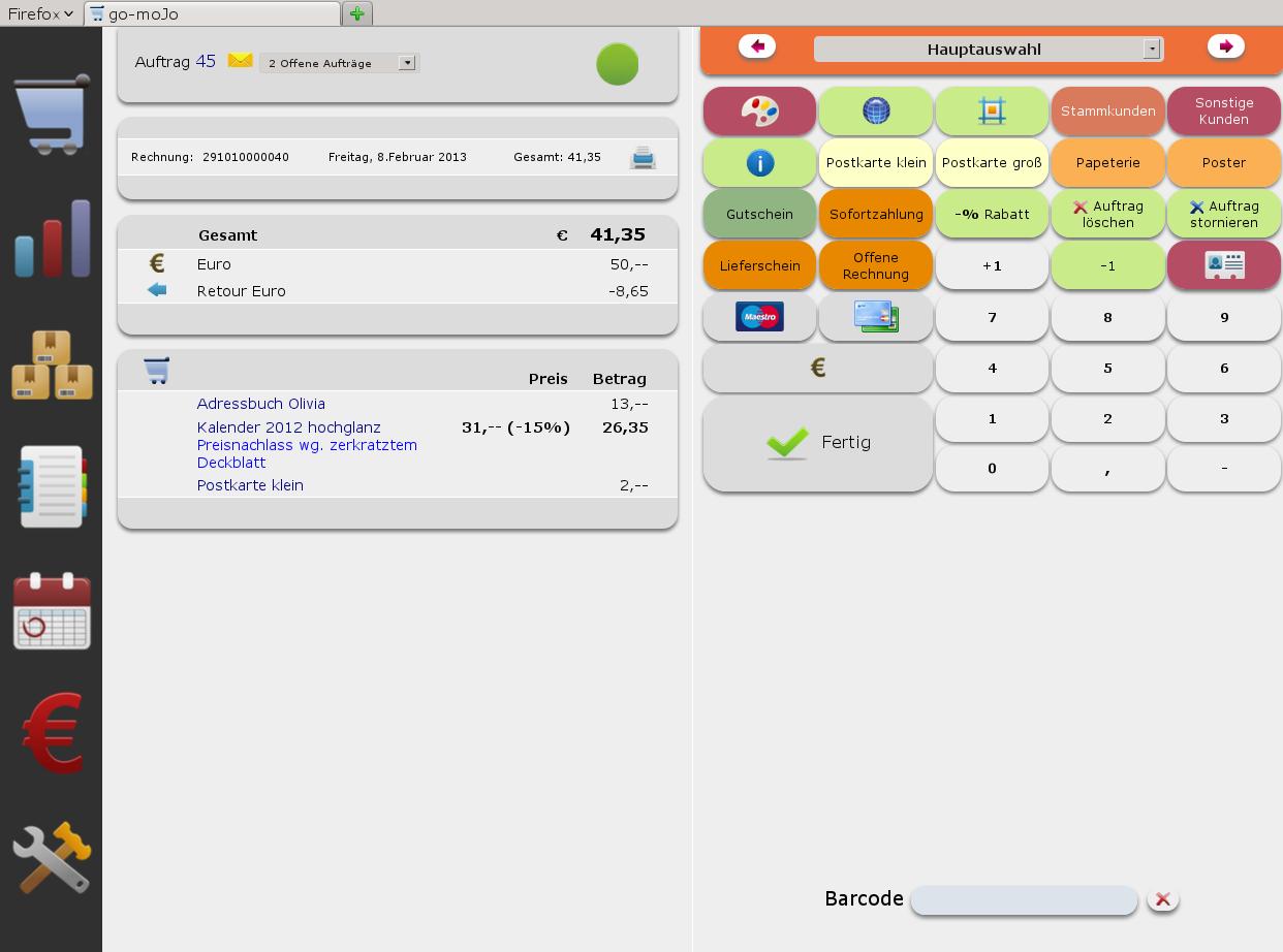 """Photo: Ein Verkaufsvorgang in """"go-mojo"""". Die Erfassung erfolg wahlweise über Tastatur, Barcode-Sanner oder Touchscreens. Selbstverständlich ist die Anordnung sämtlicher Tasten für Produkte, Dienstleistungen sowie Verarbeitungsfuktionen frei gestaltbar."""