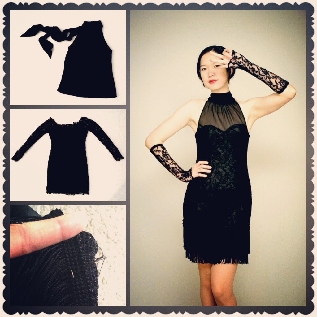DIY Black Dress with Fringe and Lace Details - DIY Fashion | Fafafoom.com