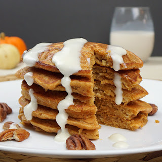 Pumpkin Cookie Butter Pancakes With Cream Cheese Glaze