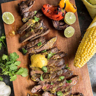 Grilled Skirt Steak with Mojo Mustard Butter.
