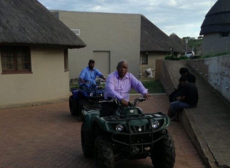"Jacob Zuma captioned this snap, ""A relaxing ride to start off 2019. Happy New Year""."