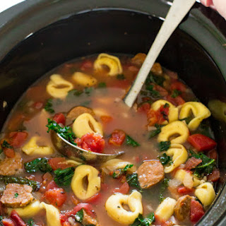 Slow Cooker Tortellini Sausage and Kale Soup