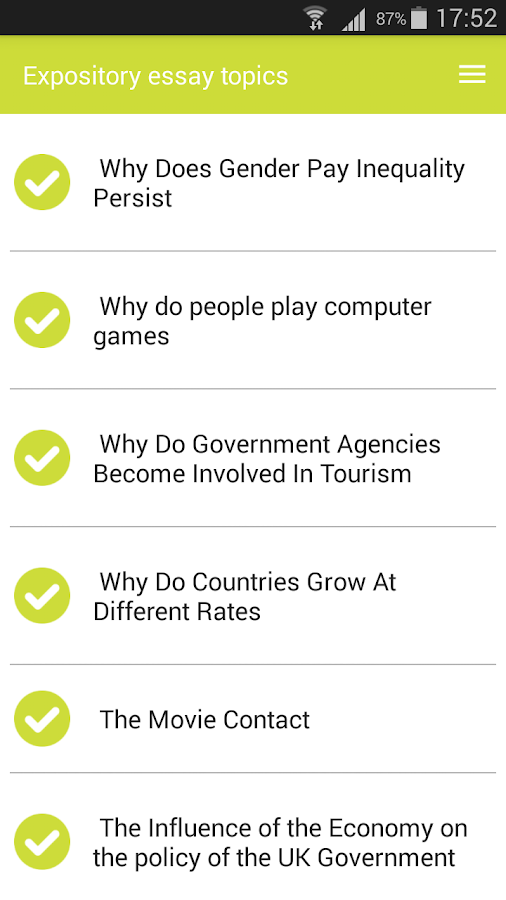 expository essay topics android apps on google play expository essay topics screenshot