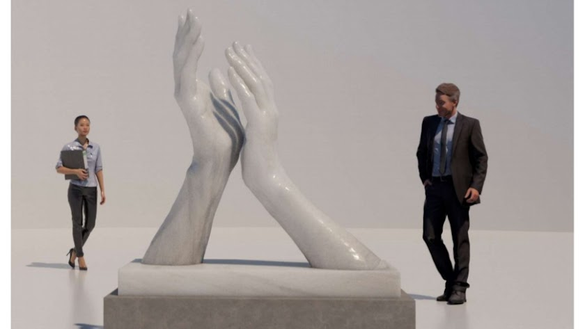 Boceto de la escultura de José Antonio Navarro que se hará en mármol de Macael.