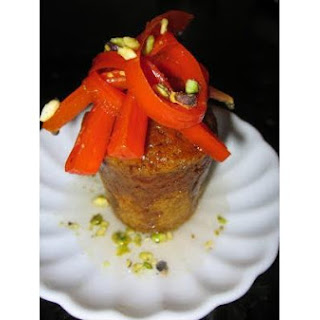 Spiced Carrot Baba Au Rhum With Candied Carrots and Pistachios