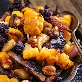 Roasted Cauliflower With Mushrooms And Hazelnuts