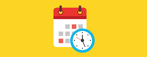 [Image is a cartoon of a blue clock and a red calendar on yellow background.]
