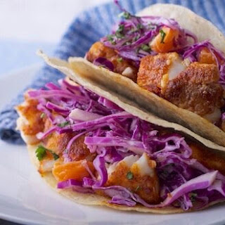 Fish Tacos with Crunchy Red Slaw